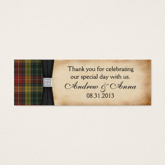 Buchanan Weathered Tartan Wedding Thank You Favor Mini Business Card