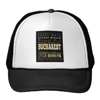 Bucharest City of Romania Typography Art Trucker Hat