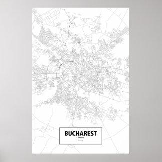 Bucharest, Romania (black on white) Poster