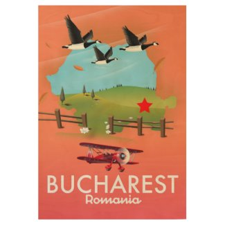 Bucharest Romania vacation map Wood Poster