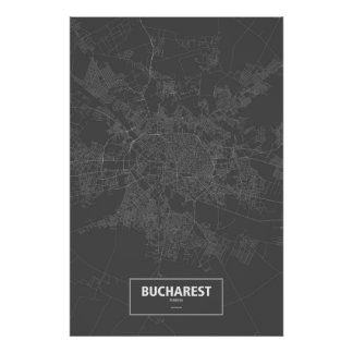 Bucharest, Romania (white on black) Poster