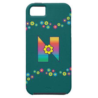 Buchstabe N im Flores-Regenbogen-Monogramm iPhone 5 Case-Mate Protectores