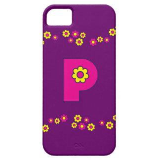 Buchstabe P en Rosa Monogramm Flores iPhone 5 Protectores