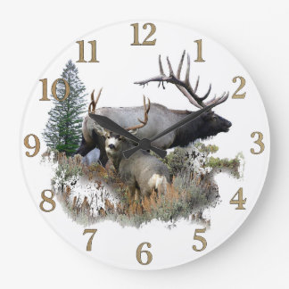 Buck and bull wildlife large clock