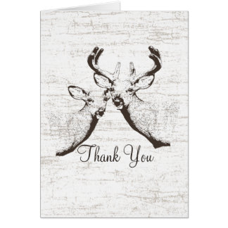 Buck and Doe Birch Tree Thank You Card