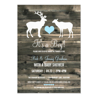 Buck and Doe (blue) Baby Shower Card