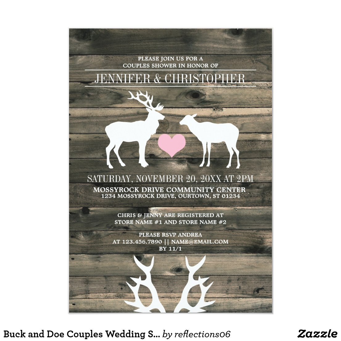 Buck and Doe Couples Wedding Shower Invitation