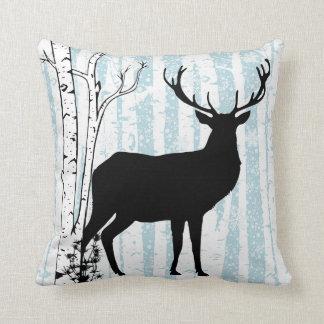 Buck and Doe Deer Birch Forest Throw Pillow