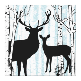 Buck and Doe Deer Birch Forest Wrapped Canvas
