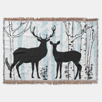 Buck and Doe in Birch Forest Throw Blanket