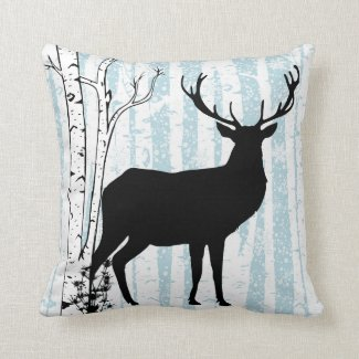 Buck and Doe in Birch Forest Throw Pillow
