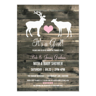Buck and Doe (pink) Baby Shower Card