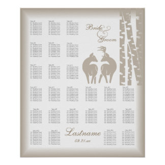 Buck and Doe Seating Chart with Birch Trees Poster