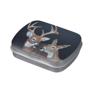 Buck and Doe Whitetail Deer Painting Candy Tins
