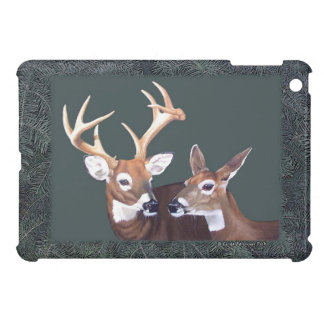 Buck and Doe Whitetail Deer Pine Branch Border Cover For The iPad Mini