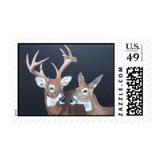 Buck and Doe Whitetail Deer Postage Stamp