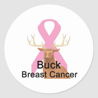 Buck-Breast-Cancer Classic Round Sticker