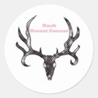 Buck Breast Cancer Round Sticker