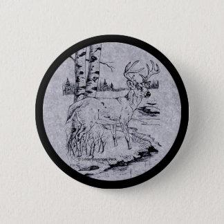 Buck Creek Deer Ink Drawing Pinback Button