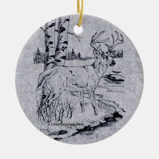 Buck Creek Round Faux Marble Ceramic Ornament