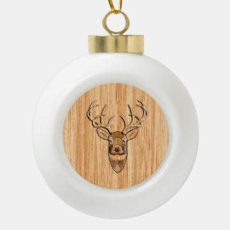 Buck Deer Head Wood Grain Style Decor Ceramic Ball Christmas Ornament