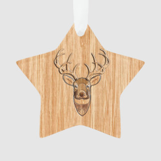 Buck Deer Head Wood Grain Style Decor Ornament