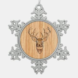 Buck Deer Head Wood Grain Style Decor Snowflake Pewter Christmas Ornament