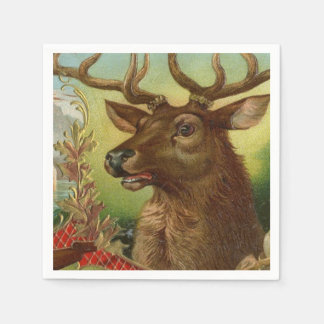 Buck Deer Hunting Cabin Decor Taxidermy Paper Napkin