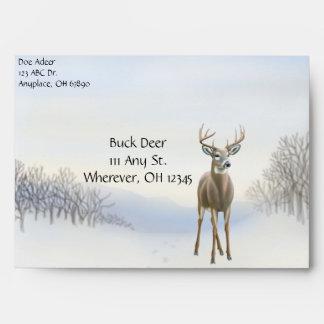 Buck Deer in Snow Envelope