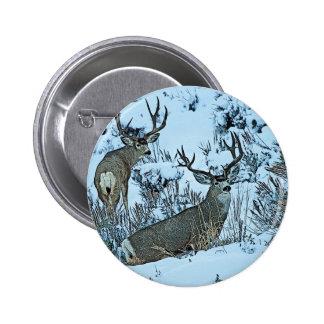 Buck deer in snow pinback button
