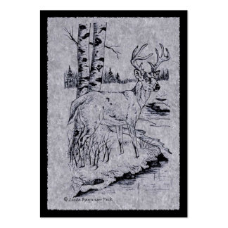 Buck Deer Ink Drawing with Creek Large Business Card