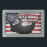 "Buck deer on American flag Belt Buckle<br><div class=""desc"">Trophy deer set on American flag</div>"