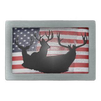 Buck deer on American flag Belt Buckle