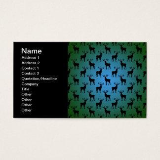 Buck Deer Pattern on Blue Green Business Card