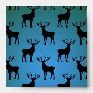 Buck Deer Pattern on Blue Green Envelope