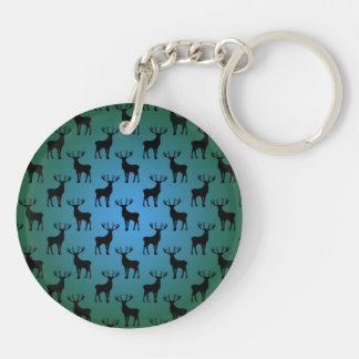 Buck Deer Pattern on Blue Green Keychain