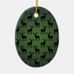 Buck Deer Pattern on Green Christmas Tree Ornament