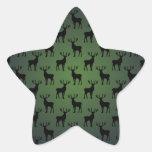 Buck Deer Pattern on Green Star Stickers