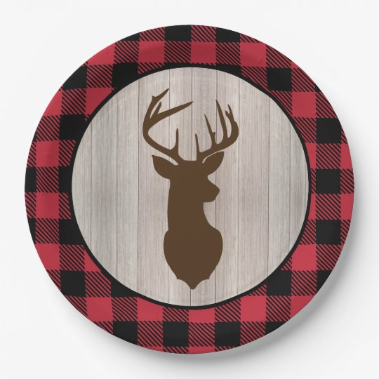Buck Deer Silhouette Lumberjack Buffalo Plaid Paper Plate  sc 1 st  Zazzle & Buck Deer Silhouette Lumberjack Buffalo Plaid Paper Plate | Zazzle.com