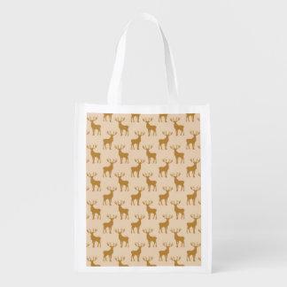 Buck Deer Silhouette Pattern Brown Reusable Grocery Bag