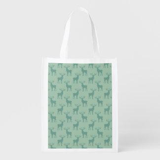 Buck Deer Silhouette Pattern Green Reusable Grocery Bag