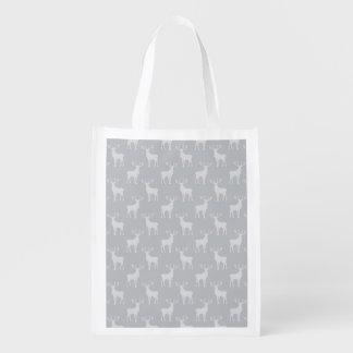 Buck Deer Silhouette Pattern Grey Grocery Bag