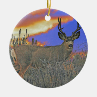 Buck deer sunrise ceramic ornament
