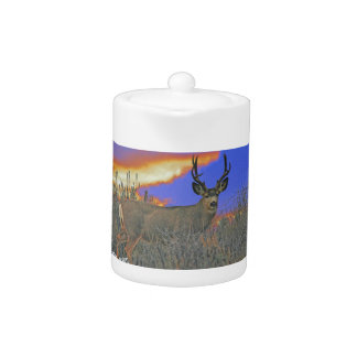 Buck deer sunrise teapot