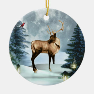 Buck Deer Winter Scene Round Ornament