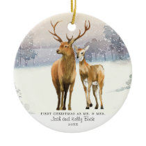 Buck & Doe First Christmas Mr & Mrs Personalized Ceramic Ornament