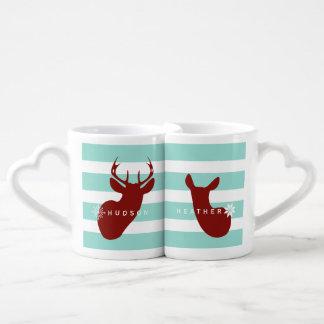 Buck + Doe Snowflakes Mugs Blue + Red