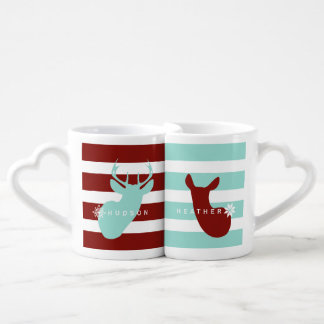 Buck + Doe Snowflakes Mugs Blue + Red Couples' Coffee Mug Set