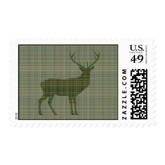 Buck Green Plaid Postage Stamps