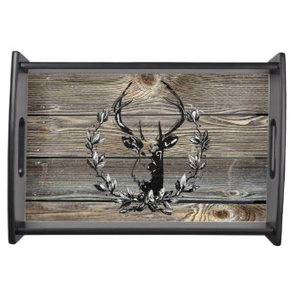 Buck Head laurel leaves On Rustic old wood Pattern Serving Tray